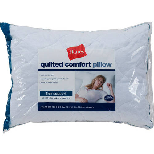 Hanes Quilted Comfort Bed Pillow, Firm Density
