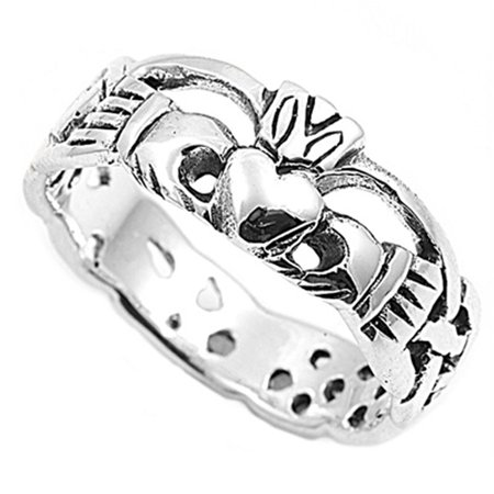 Men Women Sterling Silver 8mm Claddagh Celtic Ring Engagement -