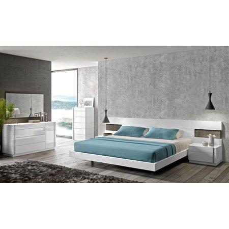 J&M Amora Contemporary White Lacquer & Natural Wood Veneer King Bedroom Set  3Pcs