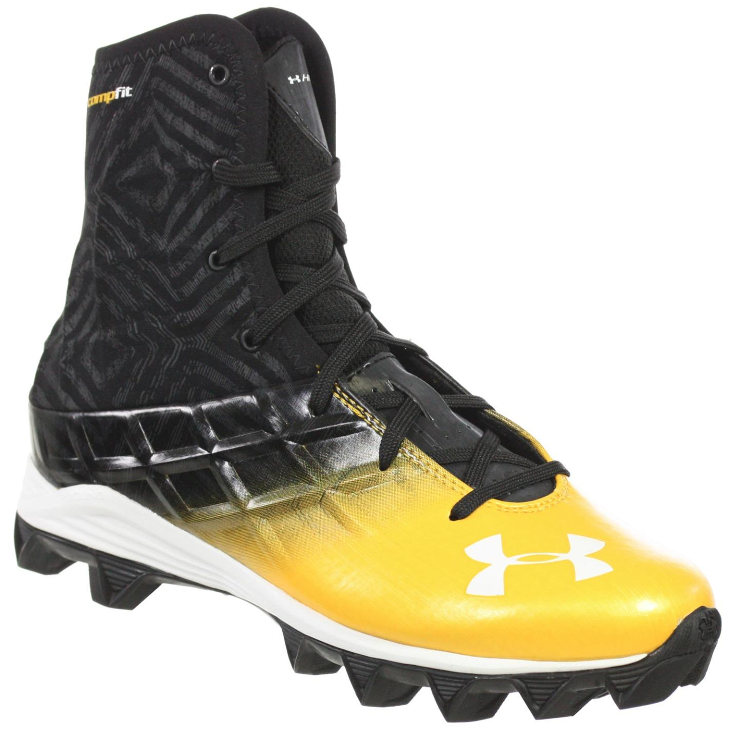 UNDER ARMOUR YOUTH HIGHLIGHT BOYS FOOTBALL SHOES RM BLACK GOLD 1Y