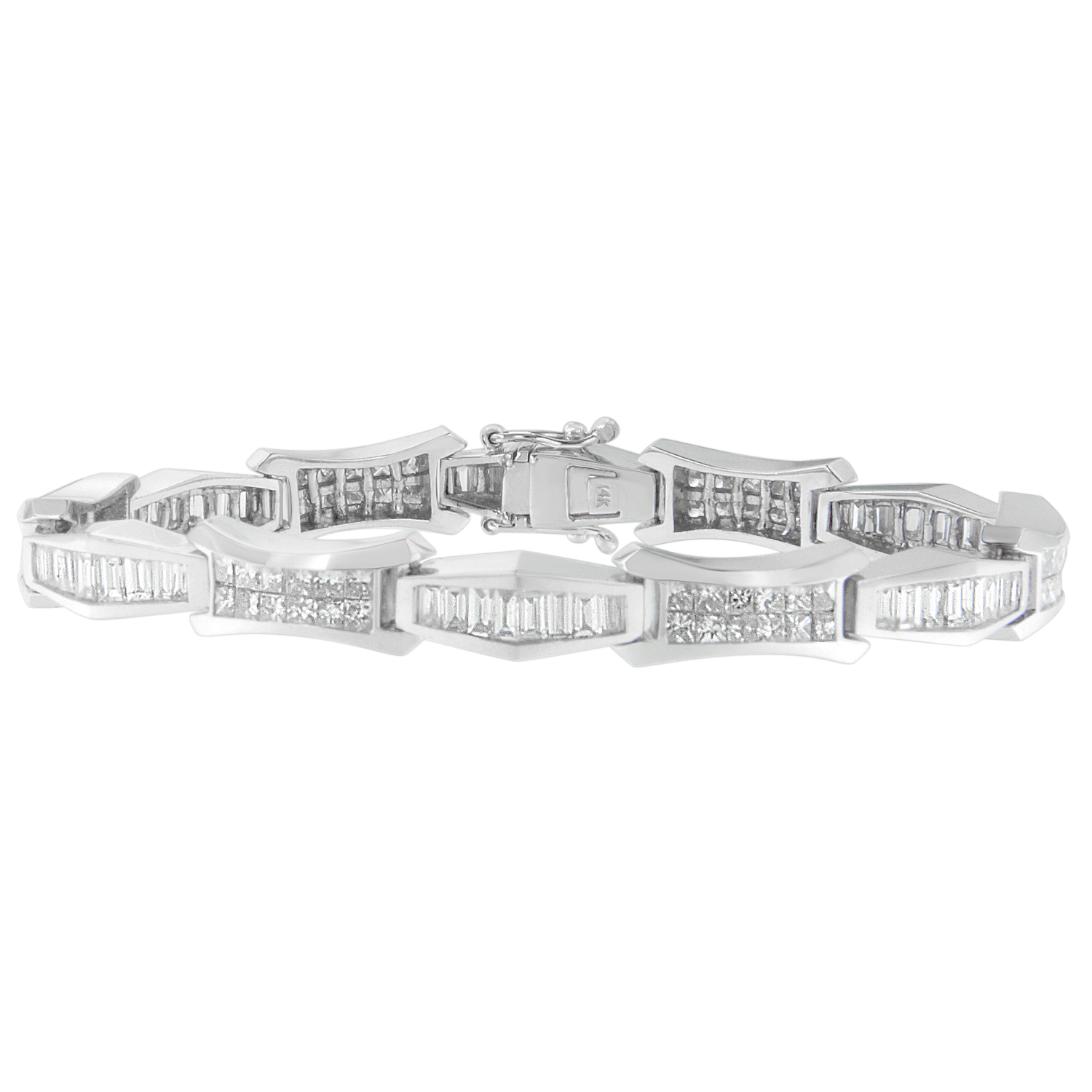 14kt White Gold 8.09ct. TDW Baguette and Princess-cut Diamond Bracelet (H-I,SI1-SI2) by VJG