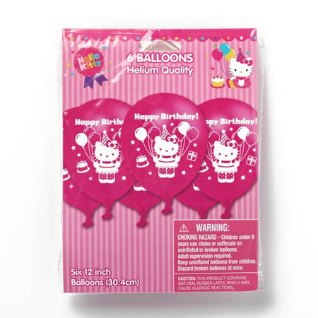 Hello Kitty 12 In  Balloons  6 Count  Party Supplies