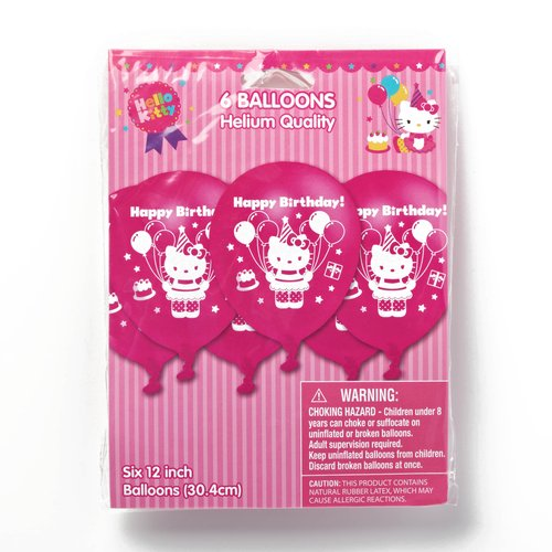 Hello Kitty 12 in. Balloons, 6 count, Party Supplies