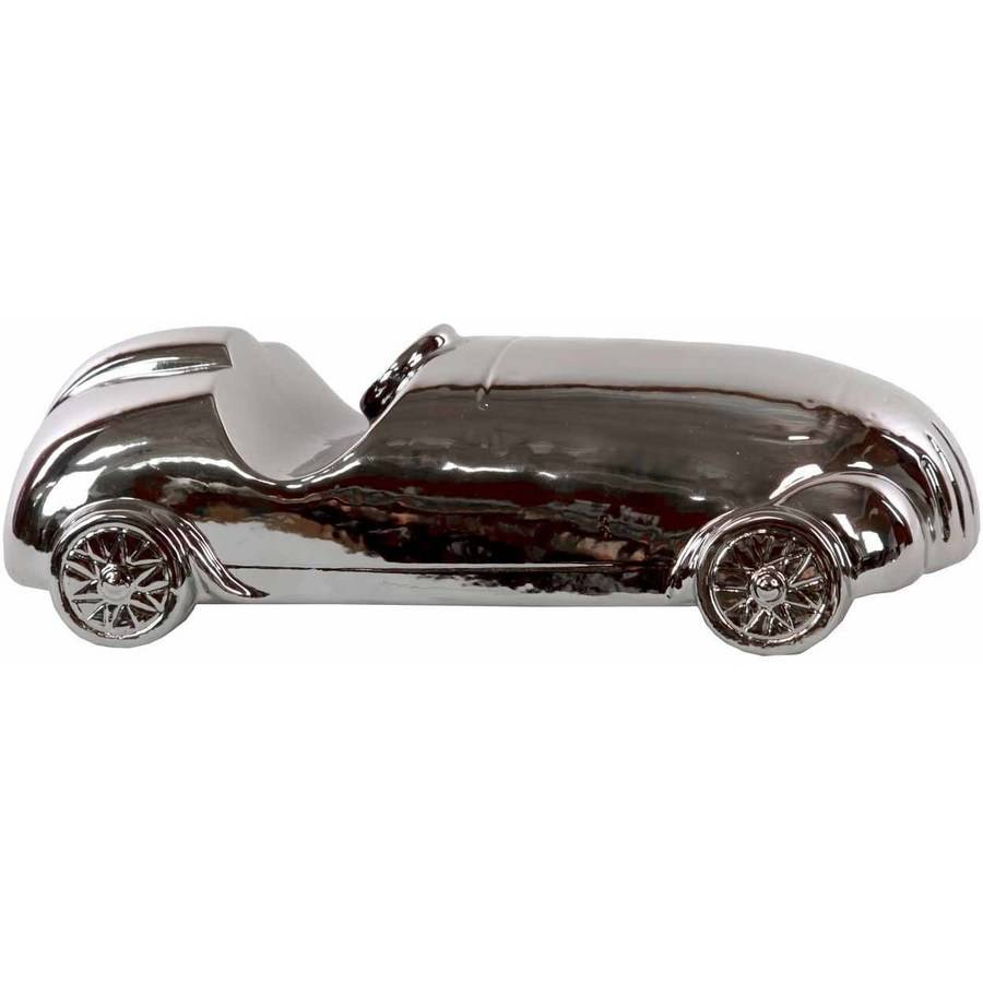 Urban Trends Collection: Ceramic Car Figurine, Polished Chrome Finish, Silver