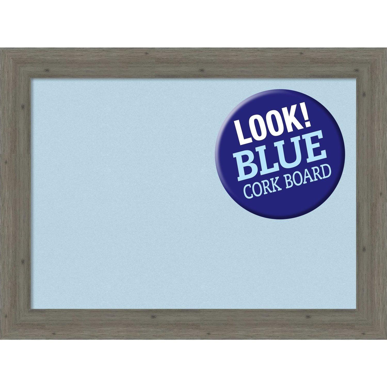 Amanti Art Framed Blue Cork Board, Fencepost Grey Narrow