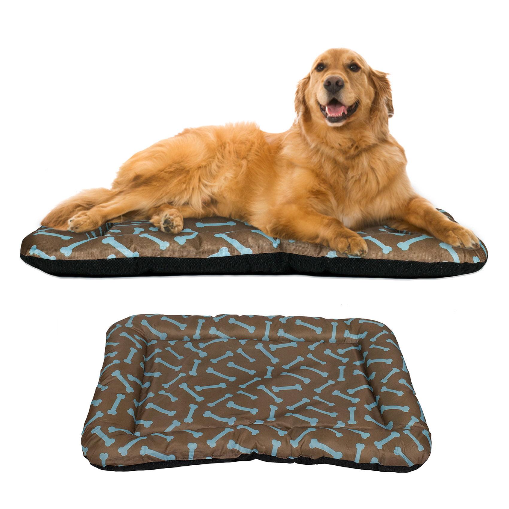 HowPlumb Dog Crate Pad Waterproof Bolster Bed Pet Mat, X-Large, Brown/Blue