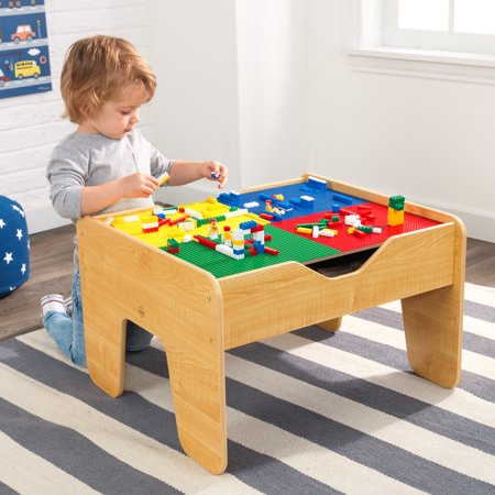 KidKraft 2-in-1 Reversible Top Activity Table with 200 Building Bricks and 30-Piece Wooden Train Set -