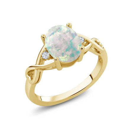 0.69 Ct Oval Cabochon White Simulated Opal 18K Yellow Gold Plated Silver Ring