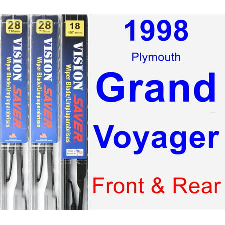 Plymouth Grand Voyager Rear Wiper (1998 Plymouth Grand Voyager Wiper Blade Set/Kit (Front & Rear) (3 Blades) - Vision Saver)