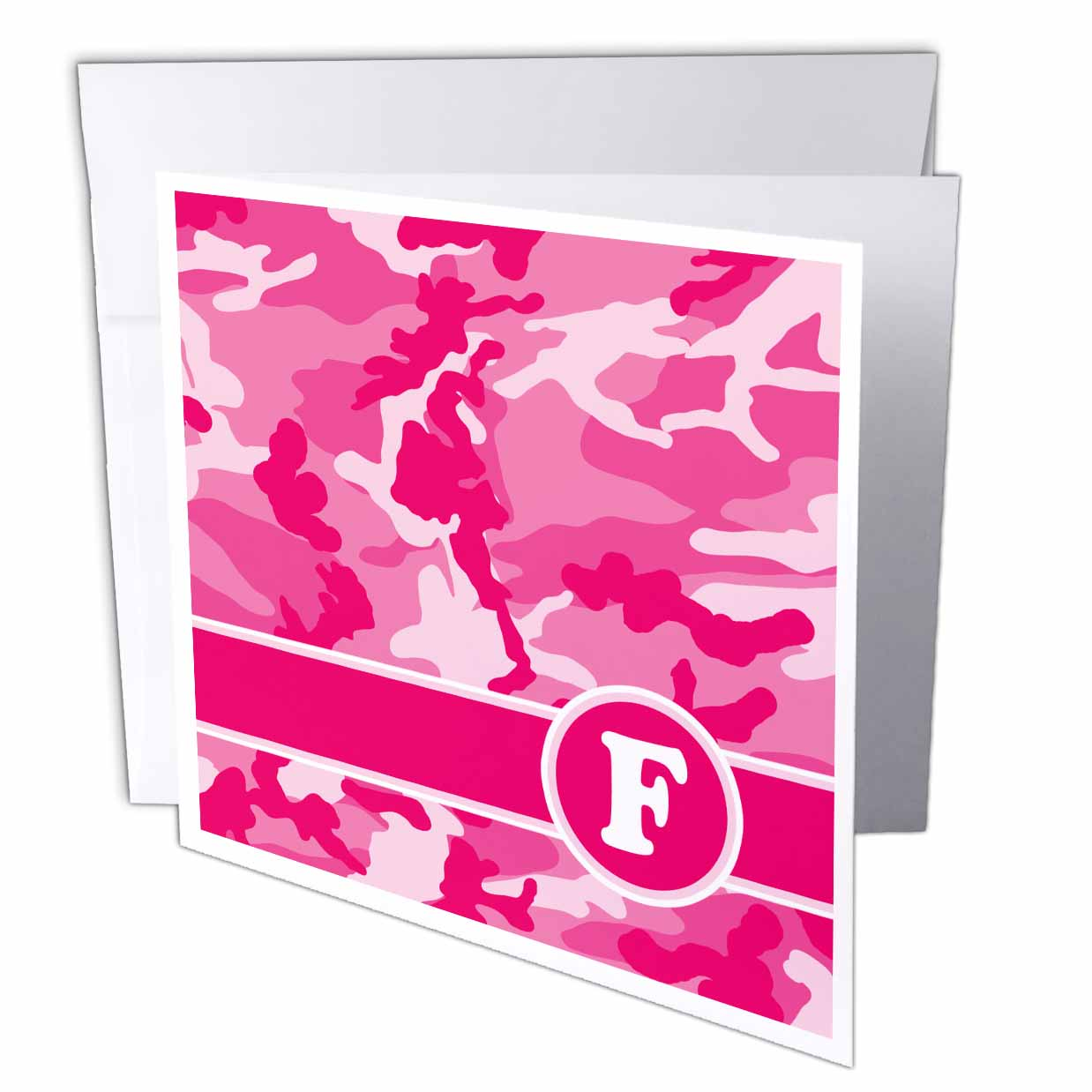 3dRose Cute Pink Camo Camouflage Letter F, Greeting Cards, 6 x 6 inches, set of 12