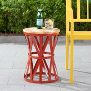 Mainstays Forset 18 Red Metal Garden Stool With Wood Top Image 2