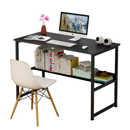 DL furniture - Wood & Steel Table Simple Plain Lap Desk Computer Desk Table Personal Working Space Lapdesk with 4 Steel Legs Stand Desk for Livingroom Bedroom Office - Black