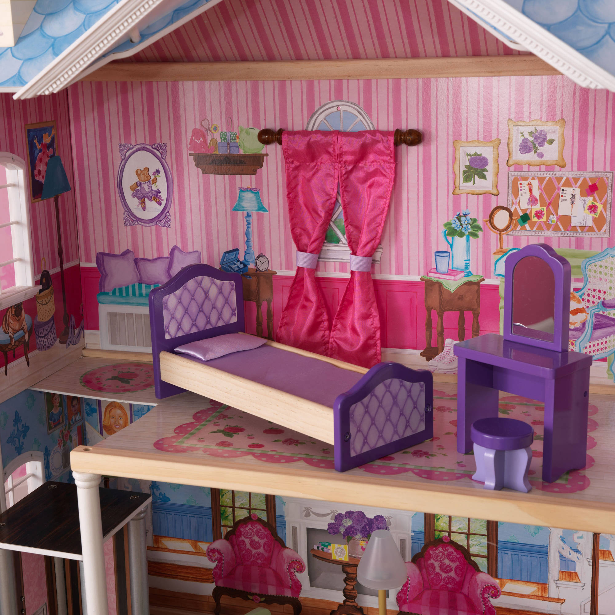 KidKraft My Dreamy Wooden Dollhouse with 14 Pieces Furniture ... - ^
