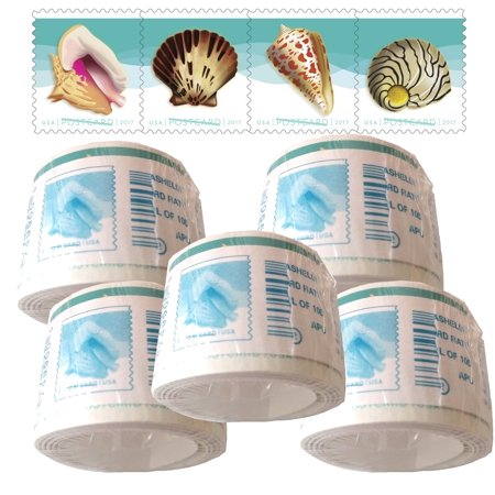 POSTCARD Postage Stamps Seashells 5 coils of 100 USPS First Class Forever Sand Sun Beach Fun Ocean (500 Stamps)