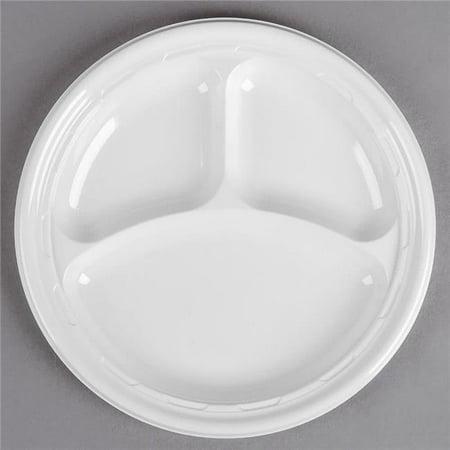 Dart 10CPWF CPC 10.25 in. 3-Compartment Impact Plastic Plate Dinnerware - White, Case of 500 - image 1 de 1