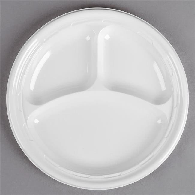 Dart 10CPWF CPC 10.25 in. 3-Compartment Impact Plastic Plate Dinnerware - White, Case of 500