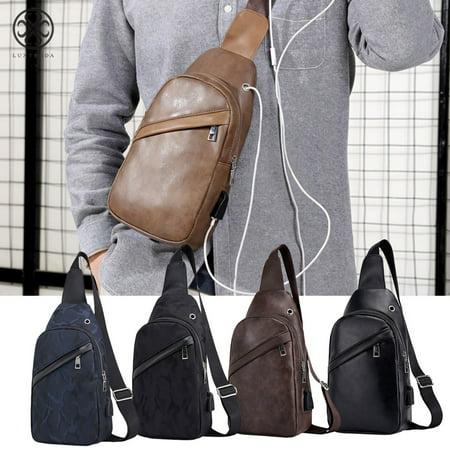 ea4487974e56 Luxtrada Men Crossbody Chest Backpack Messenger Shoulder Sling Bag Daypack  with USB Charging for Sport Hiking Travel (Camouflage Black)