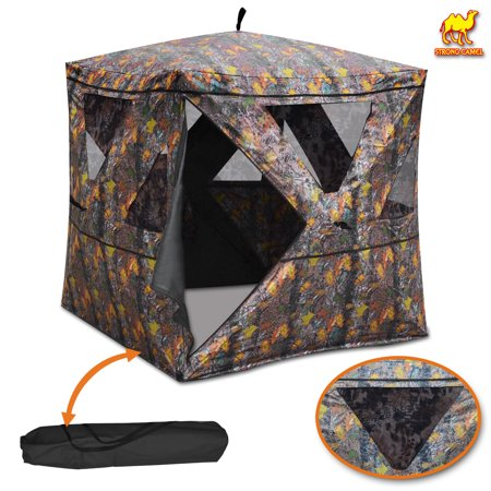 """2-3 Person Camouflage Hunting Blind Ground Deer Archery Outhouse Camo Hunting Shooting Bowhunting Tent 64"""" H x 54"""" W x 54"""" D thumbnail"""
