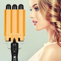 3 Barrel Curling Iron Wand, 28mm Hair Waver Curler Iron, 1 inch Ceramic Tourmaline Triple Barrels, Hair Waving Styling Tools Crimping Tool for Deep Waves-Gold