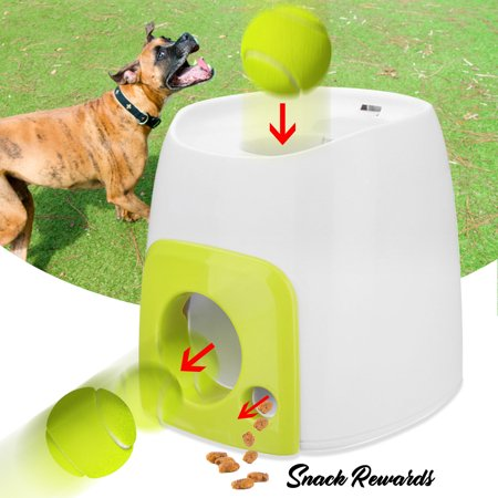 Automatic Tennis Ball Roll Out Machine Get Snack Rewards with Ball for Dogs Cats