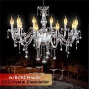 Classic European Crystal Chandelier, Clear Crystal Glass Ceiling Light with 6/8/10 Arms, Elegant Modern Pendant Lights for Dining Room, Living Room, Hallway, Stairway