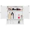 Yaheetech Bathroom Wall Mount Medicine Cabinet with Double Mirror Doors and Adjustable Shelf, Bedroom Kitchen Wooden Storage Cabinets Organizer, White