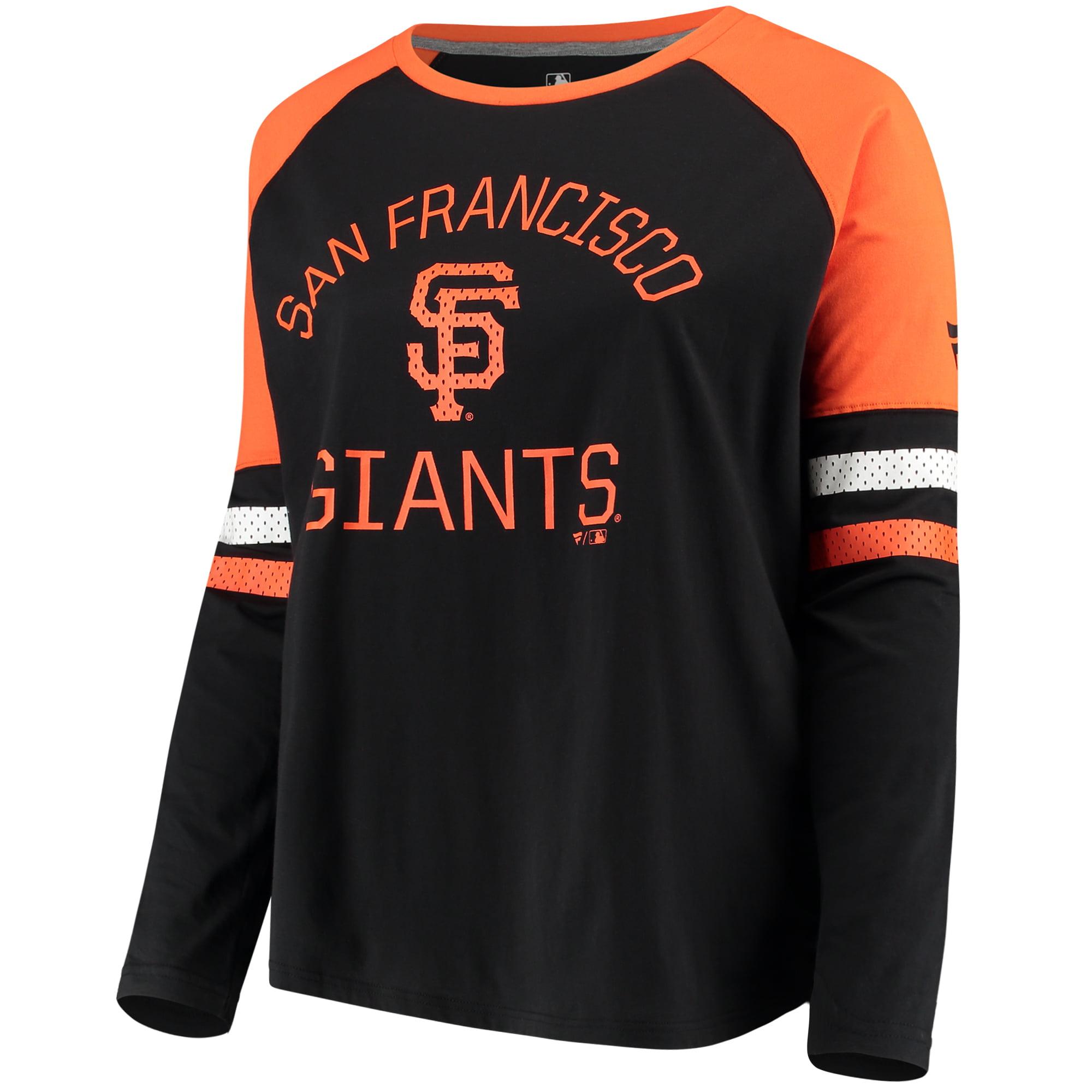 Women's Fanatics Branded Black/Orange San Francisco Giants Plus Size Iconic Raglan Long Sleeve T-Shirt