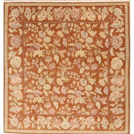 Hand-Knotted Antique Floral 10 ft Square Wool Oushak Oriental Large Area Rug
