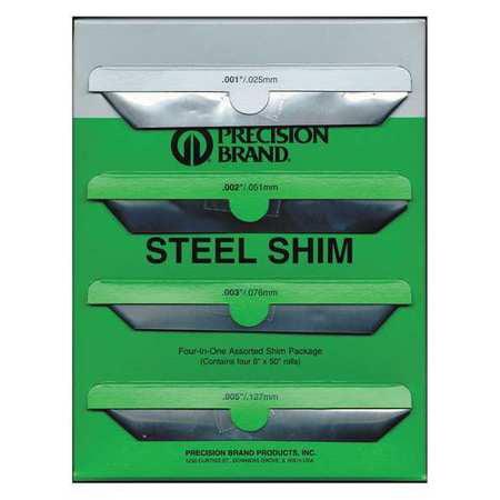 Shim Stock, Roll, Steel, Assortment PRECISION BRAND 16B4
