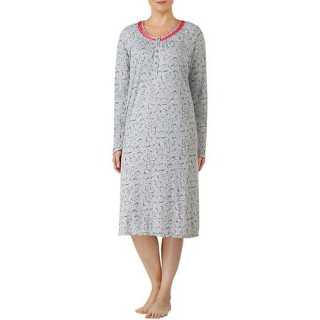women\'s long sleeve V-neck fluid knit sleep gowns (size s-4x ...