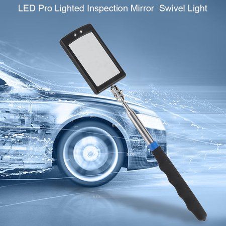 VBESTLIFE Telescoping LED Lighted Flexible Adjustable Inspection Mirror 360 Degree Swivel Extend Tool Inspection (Auto Maintenance And Light Repair Certification Test G1)