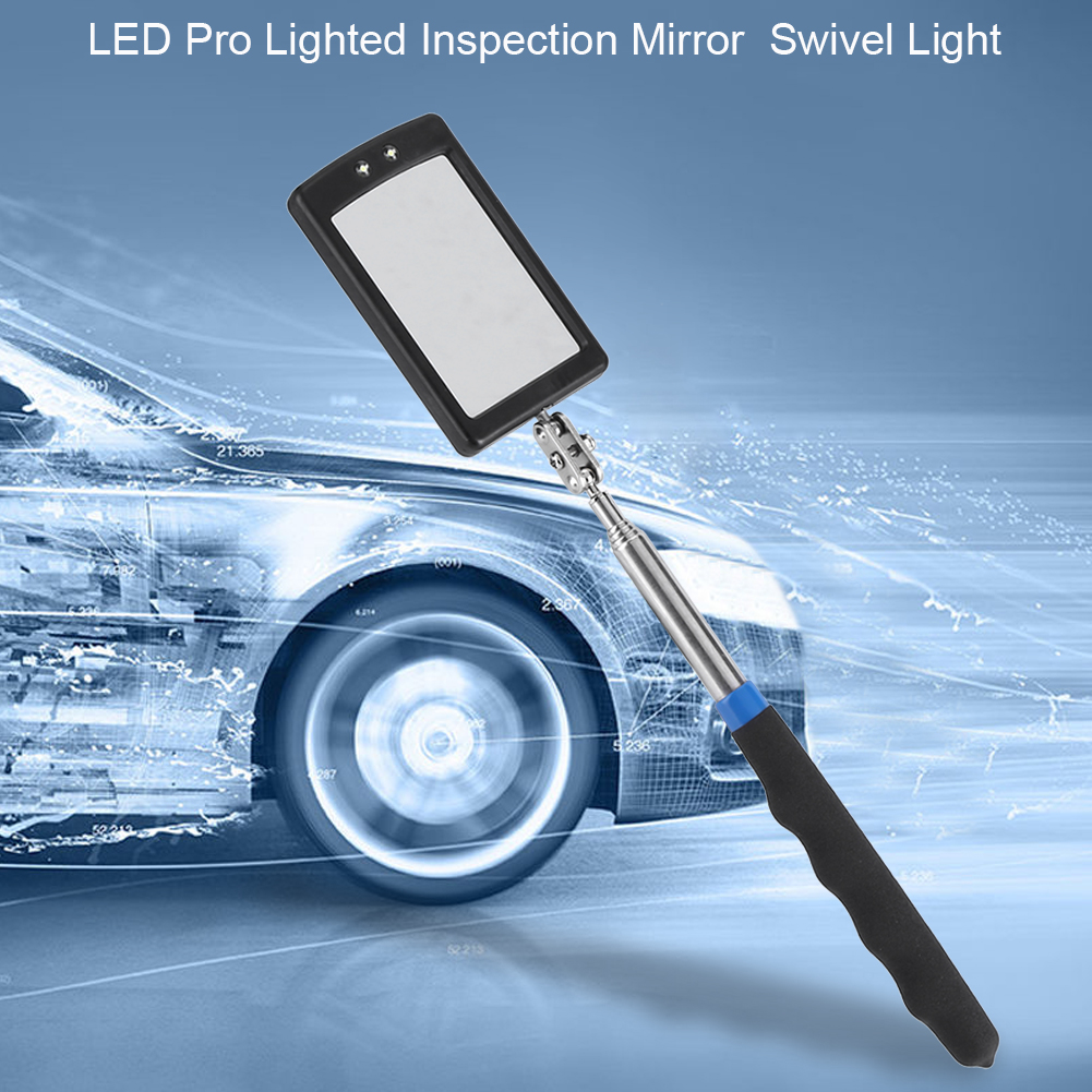 VBESTLIFE Telescoping LED Lighted Flexible Adjustable Inspection Mirror 360 Degree Swivel Extend Tool Inspection Mirrors