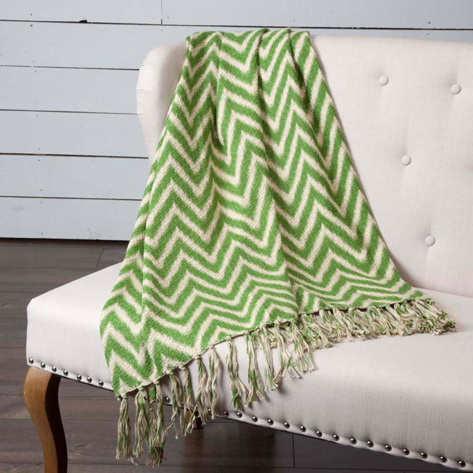 VHC Boho & Eclectic Pillows & Throws - Green Chevron Woven Throw