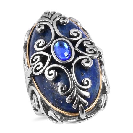 Crystal Dual Ring (Cocktail Statement Ring for Women Lapis Lazuli Blue Crystal Black Oxidised ION Plated Yellow Gold Stainless Steel Gift Jewelry)
