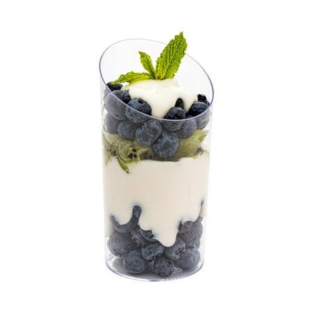 Clear Incline Glasses, Incline Tube Glass - 5 oz Premium Disposable Plastic - Great for Mini Cocktails, Desserts and More - 100ct Box - Mini Dessert Containers