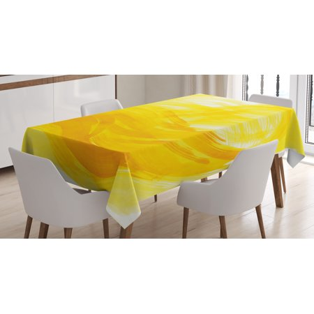 Yellow And White Tablecloth  Painting Style Brushstroke Twist Abstract Artistic Monochrome Wave  Rectangular Table Cover For Dining Room Kitchen  60 X 84 Inches  Yellow Marigold  By Ambesonne