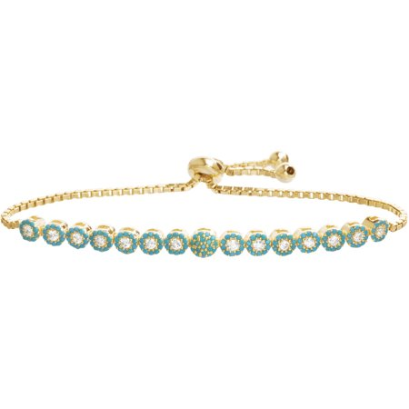 Lesa Michele Cubic Zirconia Sterling Silver Turquoise/Clear Circle Bezel Tennis Slider Bracelet in Sterling Silver