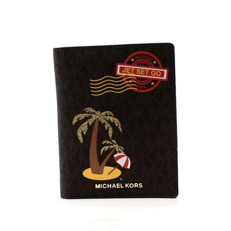 f39f97e4d56a Michael Kors - Michael Kors NEW Brown PVC Illustration Palm Trees Passport  Wallet - Walmart.com