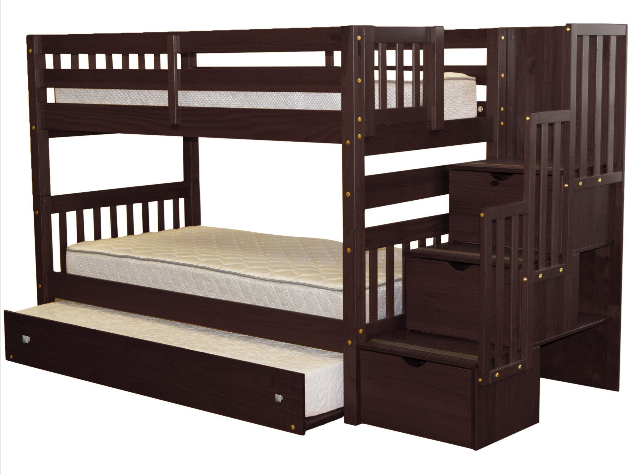 Bon Bedz King Stairway Bunk Beds Twin Over Twin With 3 Drawers In The Steps And  A