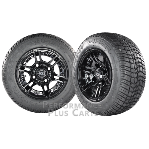"""Mirage 10"""" Black with Colored Inserts Golf Cart Wheels with Viper Street Tires"""