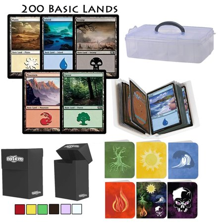 Totem World 200 Assorted Basic Land Station with Storage Case, Deck Box and a Mini Binder Collectors Album for MTG Magic The Gathering Cards - Plains Swamp Mountain Island Forest, 40 of