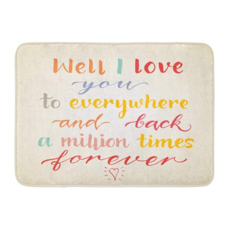 SIDONKU Well I Love You to Everywhere and Back Million Times Forever Inspiration Quot Unique House Warming Doormat Floor Rug Bath Mat 23.6x15.7 inch (Mullion Doors)