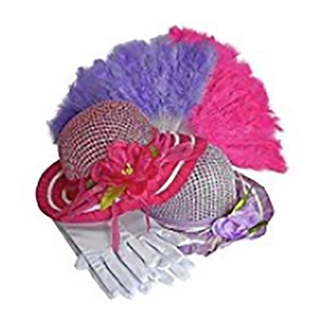 Girls Tea Party Dress Up Play Set For 2 with Sun Hats Gloves and Fans - Hot Pink and Purple](Tea Party Hats And Gloves)