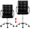 Smilemart Modern Adjustable Faux Leather Swivel Office Chair with Wheels, Black