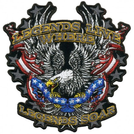 LEGENDS SOAR PATRIOTIC EAGLE, Iron-On / Saw-On Rayon PATCH - 5
