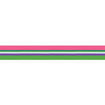 "Offray Freemont Ribbon, 7/8"" x 10 yds, Pink/Green"