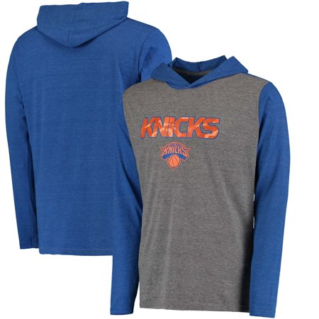 New York Knicks Fanatics Branded Modern Camo Hooded Long Sleeve T-Shirt - Blue