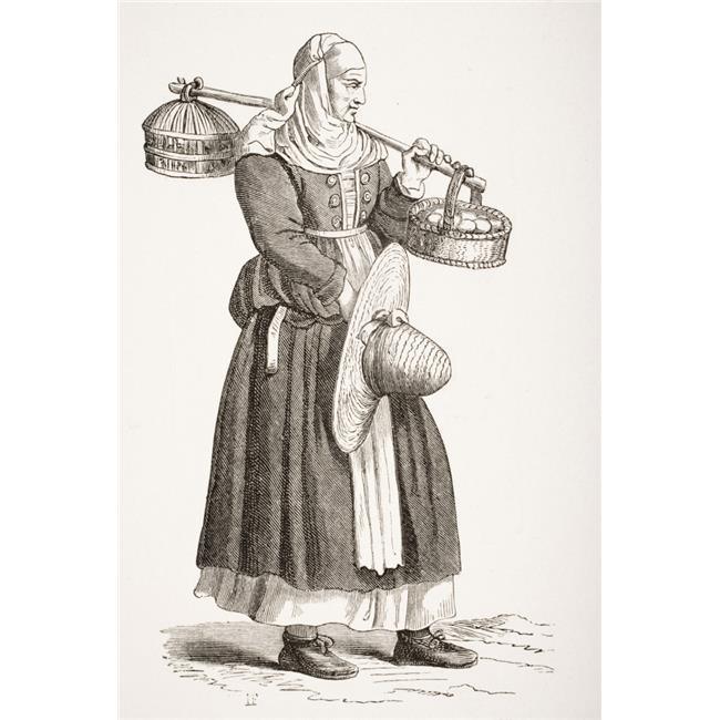 A Dealer in Eggs 19th Century Copy of 16th Century Woodcut by Cesare Vecellio Poster Print, 11 x 17 - image 1 de 1
