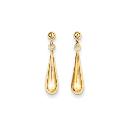 14k Gold Tear Drop Dangle Earrings - Measures 21x4mm
