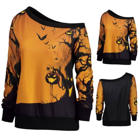 Women Halloween Party Skew Neck Pumpkin Print Sweatshirt Jumper](Halloween Jumpers Rentals)